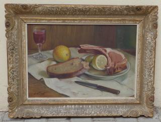 Obraz - J.Otmar - zátiší s jídlem