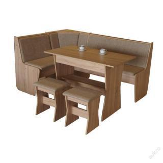 Jídelní rohová lavice CORA komplet, dub/hnědá