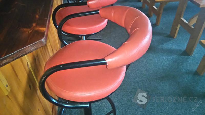 Židle barová - červená