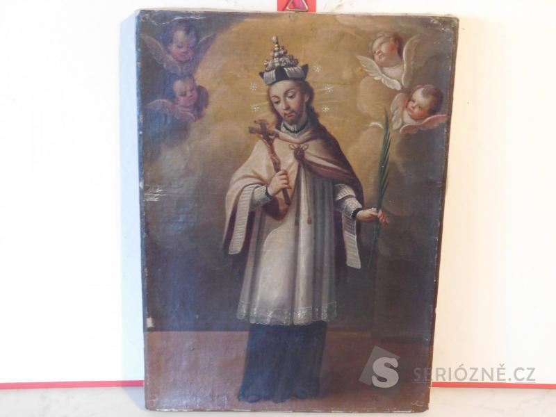 Starožitný svatý obraz - olej