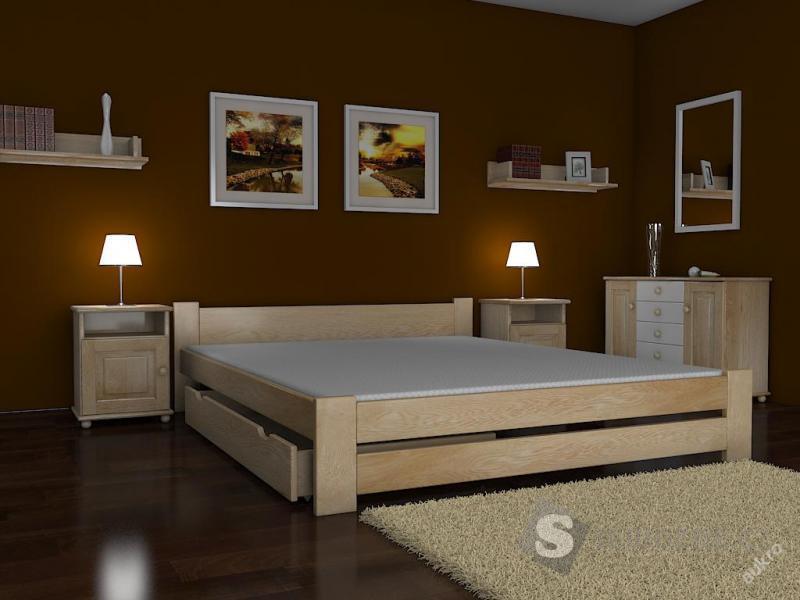 Dřevěná postel MALAGA s matrací 140x200
