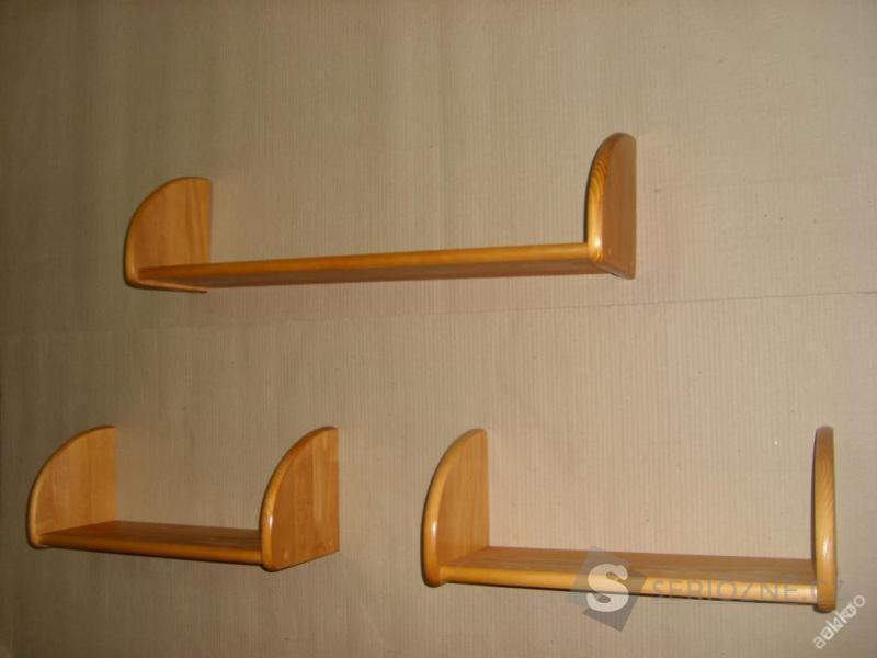Dřevěná nástěnná police polička na zeď - sada 3 ks