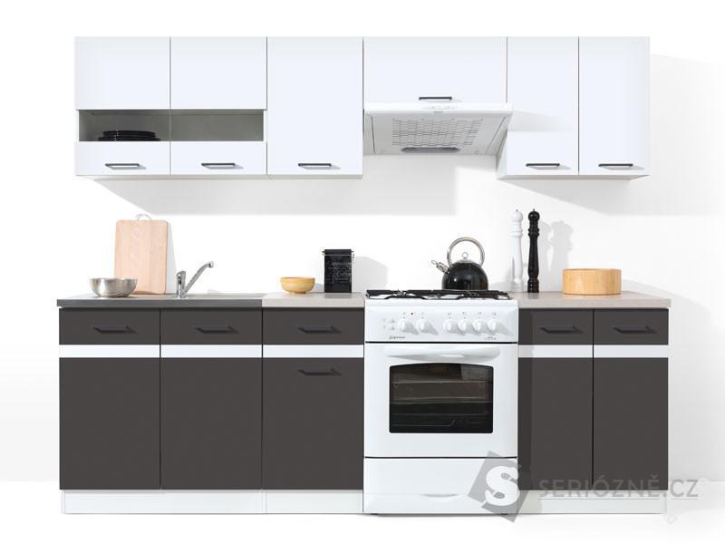 Kuchyň- kuchyňská linka JUNONA 240, bílá lesk, šedá