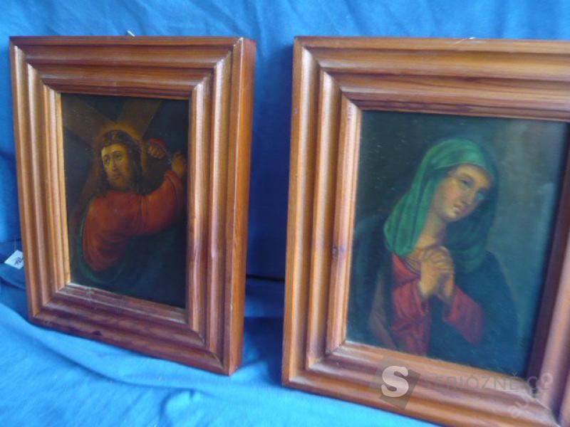 2 staré obrazy na plechu - 19.století