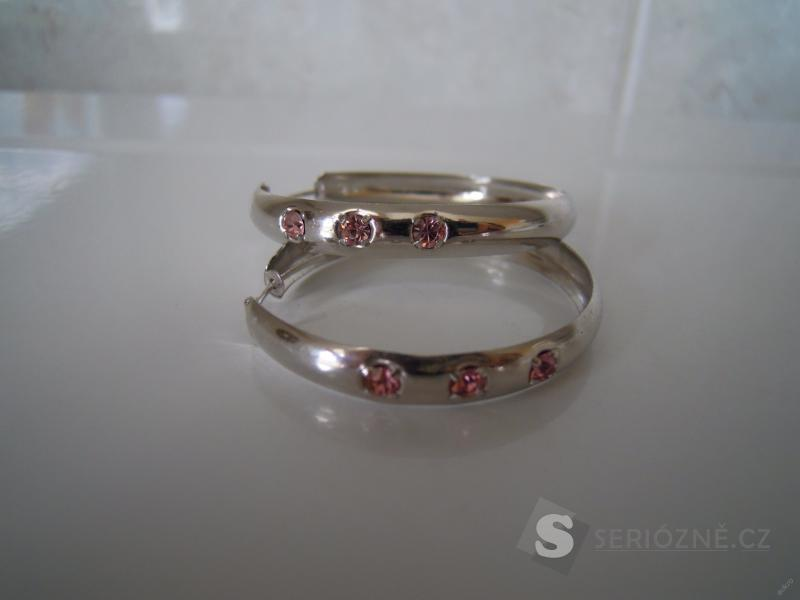 Stříbrné naušnice (růžové kameny)