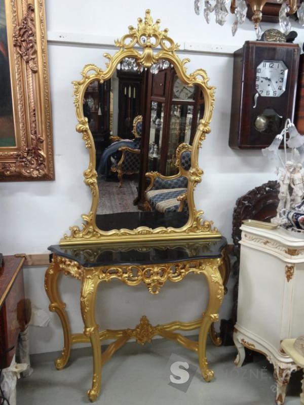 Luxusní zámecké zrcadlo s konzolovým stolkem