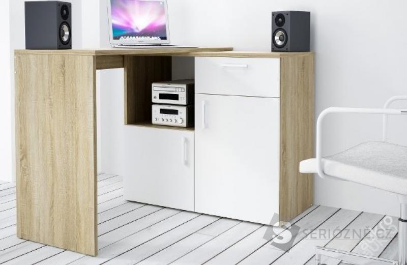 Rohový psací kancelářský stůl