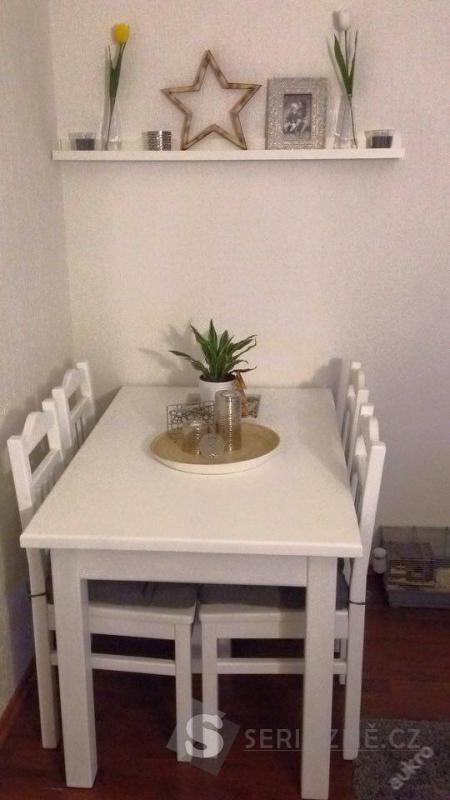 Jídelní stůl, 6 židlí - dřevo masiv