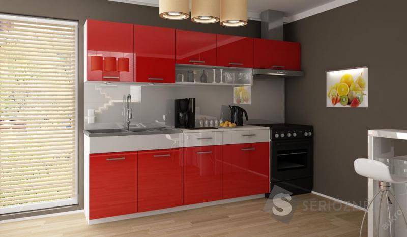 Kuchyňská linka - červená, lesklá