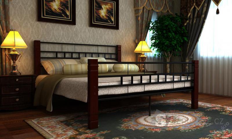 Manželská kovová postel 180x200cm