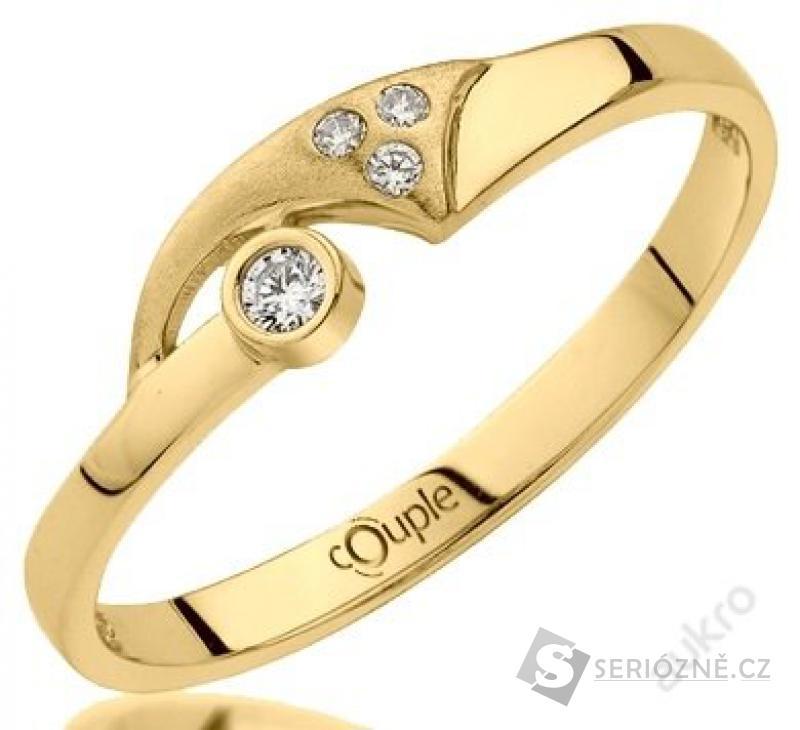 Zlatý zásnubní prstýnek 585/1