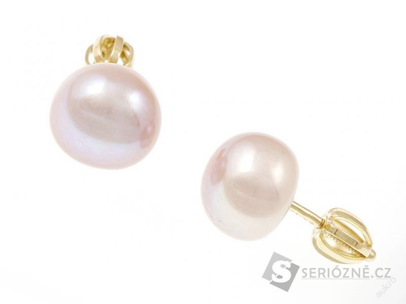 Zlaté náušnice s perlou