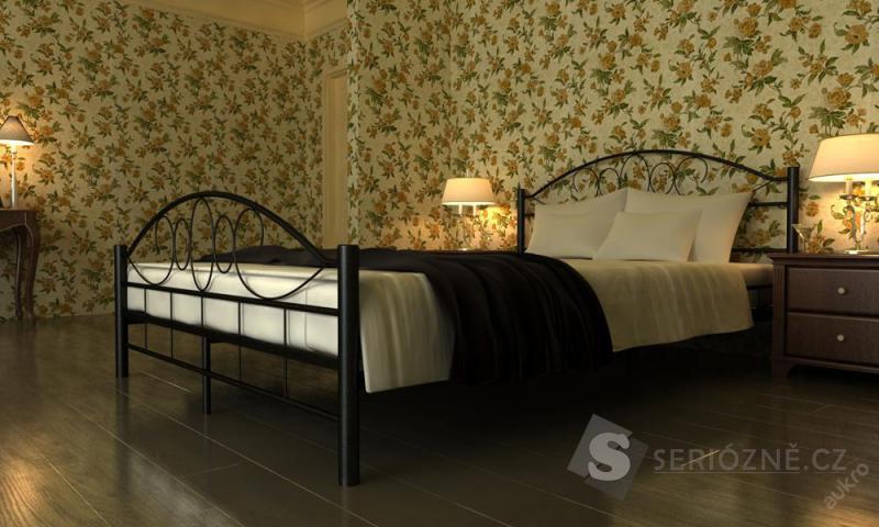 Kovová postel 180x200 cm + rošt ZDARMA
