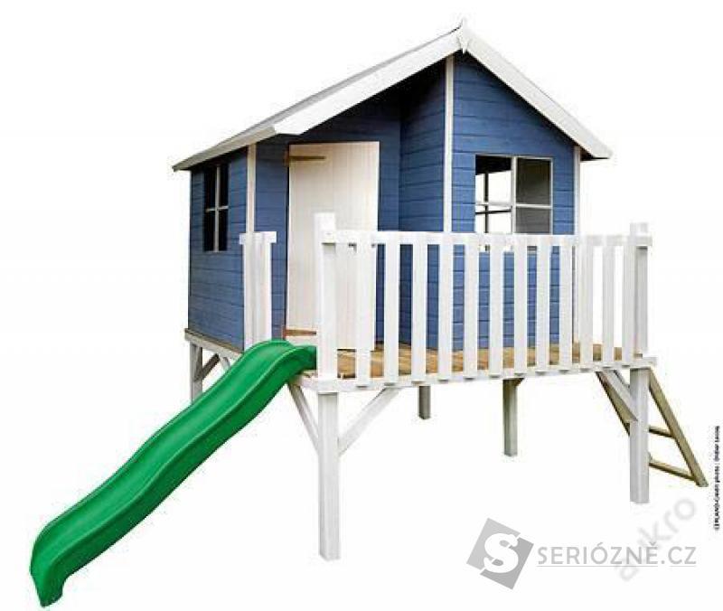 Dřevěný dětský zahradní domek BOB s klouzačkou