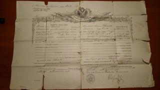 Propouštěcí list z Rakouské císařské armády 1886