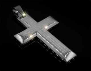 Kříž s úryvky z Bible a řetízek (chirurgická ocel)