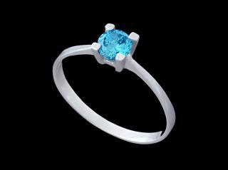 Prstýnek stříbrný s modrým kamínkem