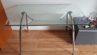 Jídelní stůl chrom/sklo 120x70cm, 12mm