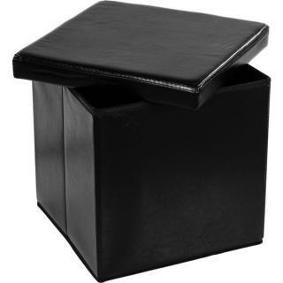 Taburet s úložným prostorem - černý