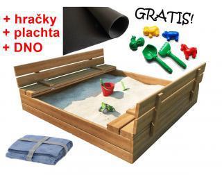 Pískoviště s lavičkami 120cm + DNO + hracky + plahta